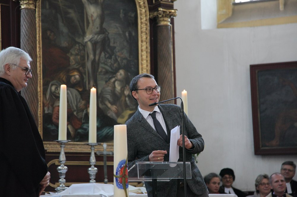 Grußwort für den Kirchenvorstand Neupfarrkirche durch Vertrauensmann Tristan Haselhuhn